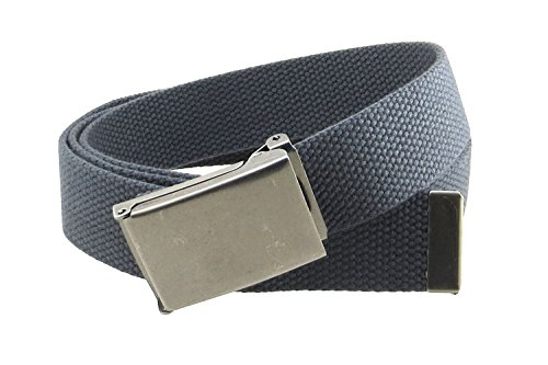 (Canvas Web Belt Flip-Top Antique Silver Buckle/Tip Solid Color 50