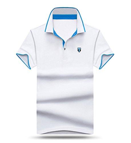 メンズ ポロシャツ 半袖 Tシャツカジュアル 紳士ポーツゴルフ シャツおしゃれ 2018人気 部屋着 吸汗速乾トップス無地 (ホワイト, XXL)