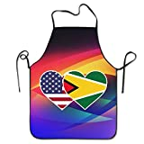 Novelty Guyana USA Flag Twin Heart Unisex Kitchen Chef Apron - Chef Apron For Cooking,Baking,Crafting,Gardening And BBQ