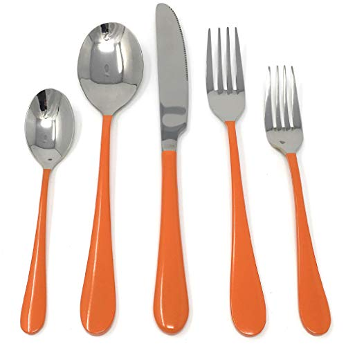 5 PC Stainless Steel 18/10 Flatware Set Hand Crafted/Colored Handles Flatware Cutlery Utensils Sets Dinnerware Sets Incl 1 Dinner Knife 2 Forks 2 Spoons for Kitchen (Orange) (International Orange)