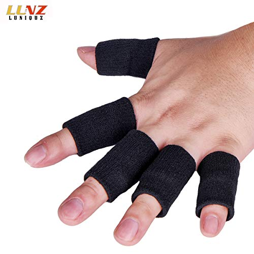 Luniquz Finger Sleeves, Thumb Splint Brace for Finger Support, Relieve Pain for Arthritis,Triggger Finger, Compression Aid for Sports, Black