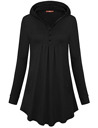 Gaharu Hooded T Shirt Women, Ladies Solid Color Long Sleeve Hoodie Button V Neck Pleats Pullover Jersey Sweatshirt Black,XXL