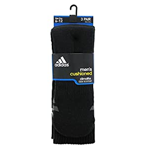 adidas Men's Cushion Crew Socks (Pack of 3), Black/White/Light Onix/Granite, (Men's Shoe 6-12)