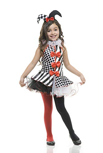 Charades Big Girl's Child's Jester Costume Childrens Costume, Black/White, X-Large -