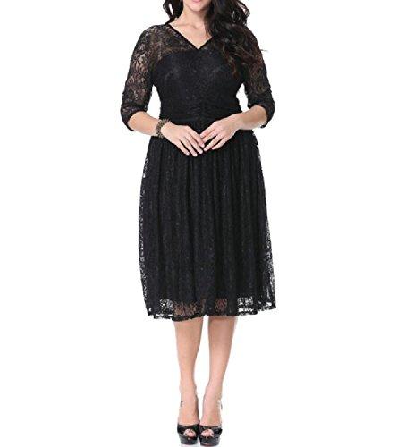 Confortables Femmes Couleur Pure Dos Nu, Plus La Taille De La Dentelle V Encolure Longueur Robe Noire