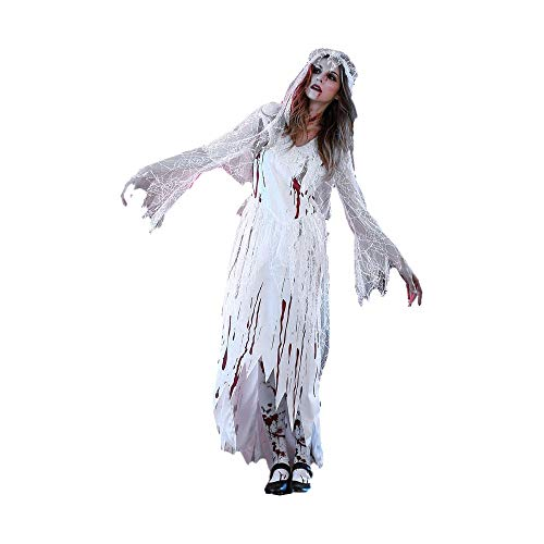 M/L/XL Gothic Long Sleeve V-Neck Bloody Ghost Bride Costume with Veil for Halloween Stage Performance Cosplay -