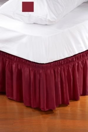 wrap around style easy fit elastic bed ruffles for twin and full size beds burgundy