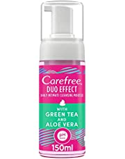 CAREFREE Daily Intimate Cleansing Mousse Duo Effect with Green Tea and Aloe Vera, 150 ml