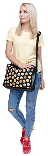 Kukubird Bag Anchor Black Cat Messenger amp; Dog Animal Mixed Flower With Crossbody Emoji Rainbow Strap Print Emoji rxgwqpr6