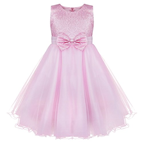 FEESHOW Sequined Flower Girl Dress Kids Bow-Knot Princess Wedding Bridesmaid Pageant Party Tulle -