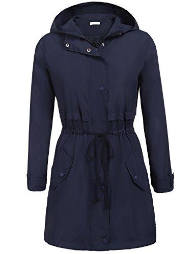Elover Women's Hooded Long Sleeve Zip Up Rainproof Windproof Jacket Raincoat (Navy, (Lightweight Lined Windbreaker)