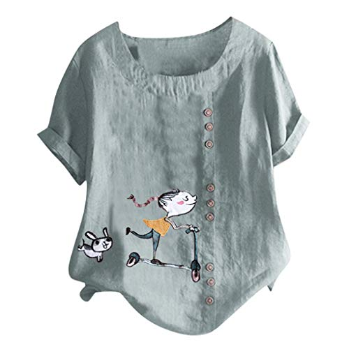 Londony❀♪ Women's Short Sleeve Cotton Linen Jacquard Blouses Top T-Shirt Linen Retro Chinese Frog Button Tops Blouse (Womens Wilsons Leather Pants)