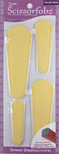 Scissors sheaths by SCISSORFOBZ with ScissorGripper -Value Pack-4 Sizes- Designer Scissor Covers Holders for Embroidery Sewing Quilting - Quilters sewers Gift -Beautiful Musturdy Yellow.S-80