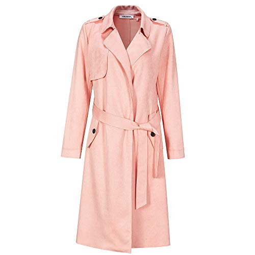 NOBLEMOON Trench Coat Women, Women Casual Coat with Pocket Stlylish Soft Fabric Lab Leather Jacket for Spring Pink