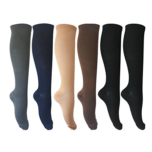 MIXSNOW 6 Pairs of Compression Socks for Men and Women for Running, Nurses, Shin Splints, Travel, Flight, Pregnancy & Maternity Large/X-Large Assorted 2