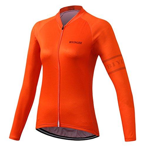 BIYINGEE Women's Cycling Jersey Long Sleeve with Reflective Stripe Fluorescence Orange Size L(CN)