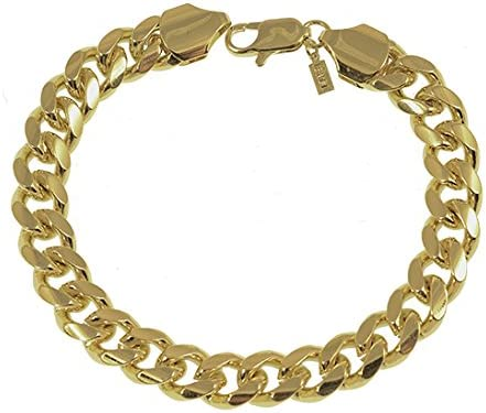 Mister Value Yellow Gold Plated 11mm Cuban Curb Chain Necklace