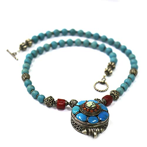 (Necklace Sterling Silver Prayer Box Pendant Turquoise Coral Tibetan Nepal AN2418k)