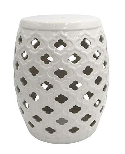 Ravenna Home Moroccan Pattern Ceramic Garden Stool or Side Table, - 16 Inch, Off White from Ravenna Home