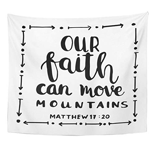 AlliuCoo Wall Tapestries 60 x 50 Inches Our Faith Can Move Mountains White Bible Verse Hand Lettered Quote Modern Calligraphy Christian Home Decor Wall Hanging Tapestries Living Room Bedroom Dorm by AlliuCoo