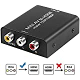 Electop AV to HDMI Mini 1080P/720P Converter Box Composite CVBS AV RCA to HDMI Video Audio Converter Adapter Supporting PAL/NTSC with USB Charge Cable for PC Laptop TV STB VCR DVD-Metal