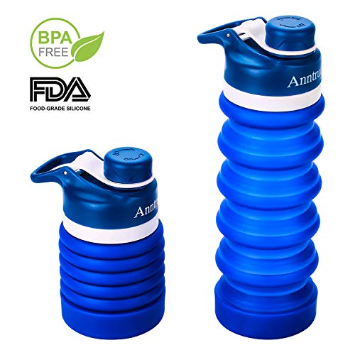 Anntrue Collapsible Water Bottle BPA Free, FDA Approved Food-Grade Silicone Portable Leak Proof Travel Water Bottle, 20oz(Navy Blue)