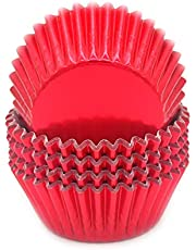 Mombake Standard Red Foil Cupcake Liners Muffin Baking Cups for Party and More, 100-Count