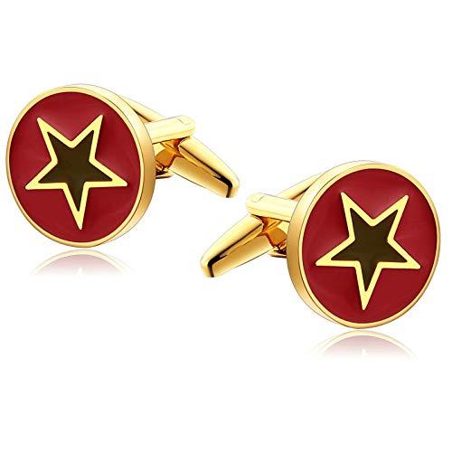 Epinki Stainless Steel Five Star Round Gold Red Cufflinks for Men Unique Business Wedding