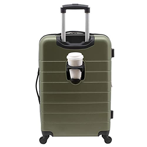 Wrangler Smart Hardside Spinner Luggage with USB Charging Port, Olive Green, Carry-On 20-Inch