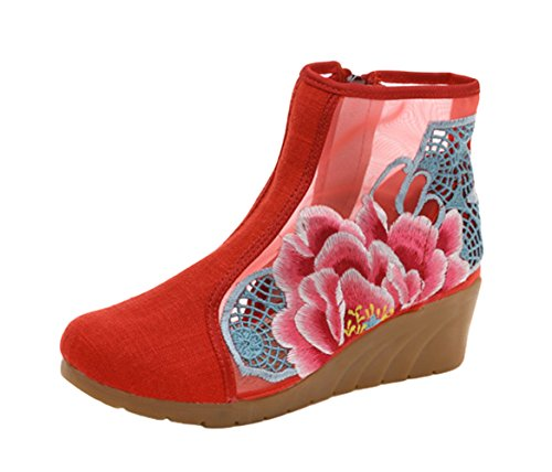 Avacostume Womens Pion Broderi Urholka Wedge Sandal Sommar Boots Röd