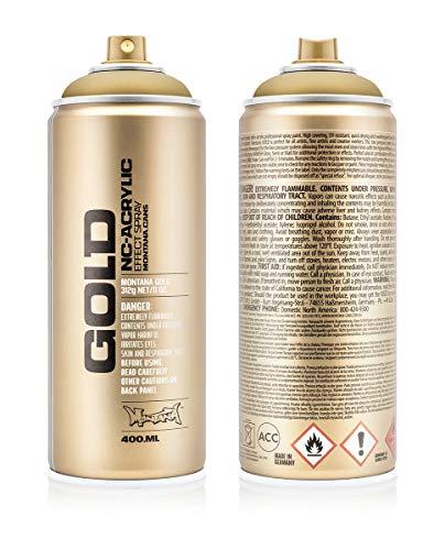 Gold Montana Paint - Montana Cans MXG-M3010 Montana 400 ml Color, Gold Matte Spray Paint,