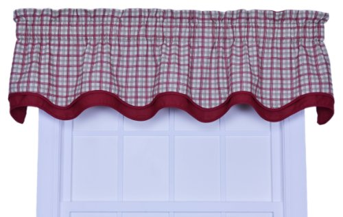 - Ellis Curtain Bristol Collection Two-Tone Plaid Bradford Valance Window Curtain, Red