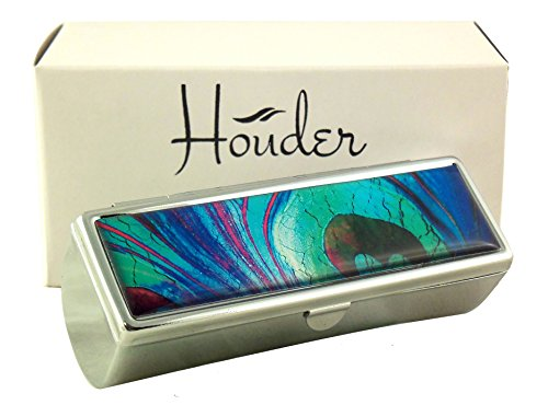 Houder Designer Lipstick Case with Mirror for Purse - Decorative Lipstick Holder with Gift Box - Velvet Lined - Protect Your Lipsticks in Style (Peacock ()