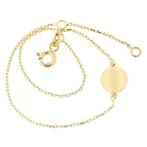 14k Yellow Gold Engravable Disc Chain Bracelet, (Engravable Link Bracelet)