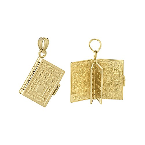 14k Yellow Gold Religious Charm Pendant, 3D Holy Bible Book with Lord's Prayer, Moveable Pages