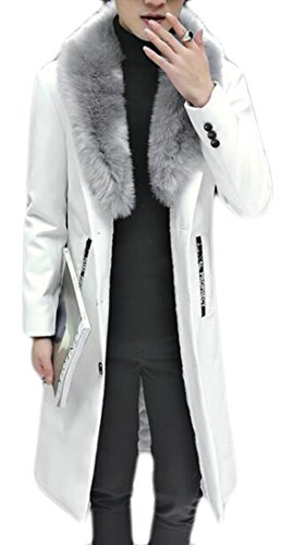 today-UK Mens Slim Fit Faux Fur Collar Long Sleeve PU Faux Leather Solid Jacket White