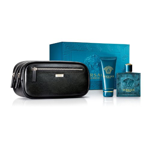 Versace Eros Men's Gift Set – 3.4 oz EDT Spray,  3.4 oz Shower Gel, Travel Bag