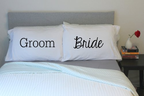 Oh, Susannah Bride and Groom Couples Pillowcases His and Hers Matching Wedding Gift (Two 20x30