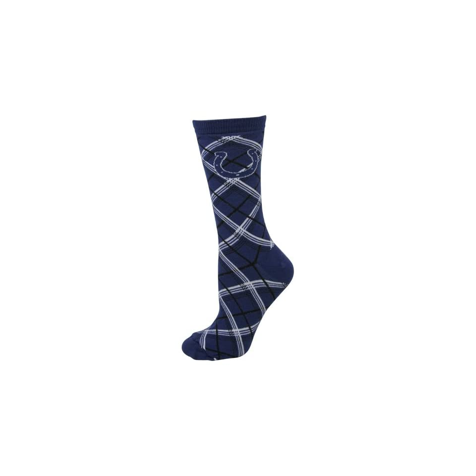 NFL Indianapolis Colts Ladies Angled Plaid Crew Socks   Royal Blue