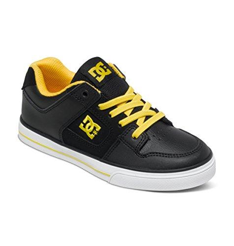 DC PURE ELASTIC - Zapatillas de Piel para niño Negro - Black Yellow FV1