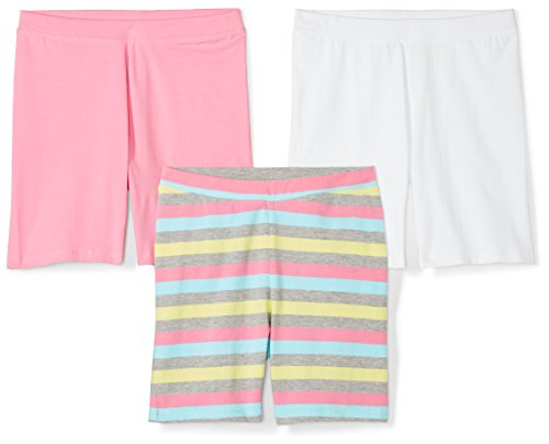 Spotted Zebra Little Girls' 3-Pack Bike Shorts, Pink/White/Stripe, Small (6-7) by Spotted Zebra