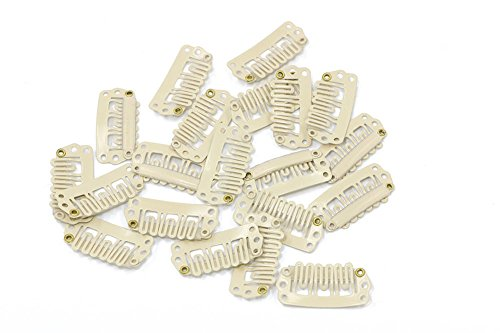 U Shape Metallic Snap Clips ins 20 Pcs for Hair Extension Hairpiece DIY Snap-Comb Wig Clips with Rubber (Blonde,Small Size) (Clips Blonde Extension Hair)