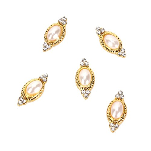 - Rain Queen Retro 3D Nail Art Pearl Glitters Charms for DIY Decorations Gold Oval Cameo Pack of 5pcs