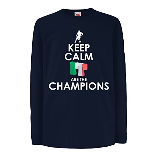 fan products of T-Shirt For Kids Keep Calm, Italians Are The Champions (7-8 Years Blue Multi Color)