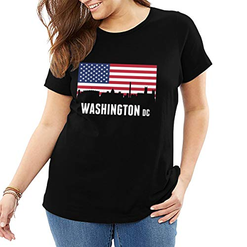 American Flag Washington DC Womens Crew Neck Plus Size Tee Short-Sleeve Black ()
