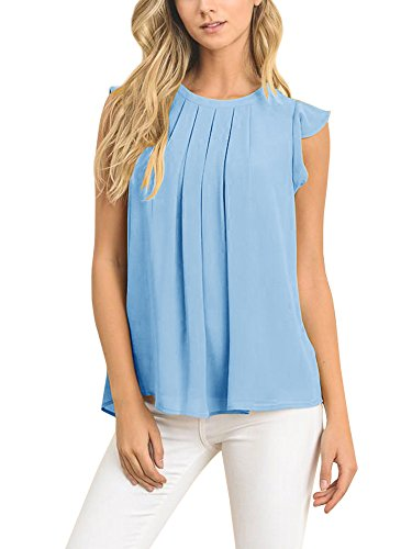 Pleated Ruffle Tank (Bigyonger Womens Ruffle Cap Sleeves Pleated Front Blouse Loose Chiffon Tank Tops)