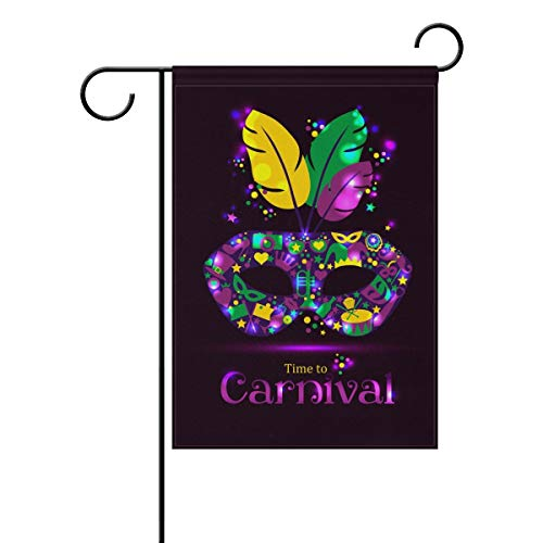 Colorful Bright Carnival Mask with Feathers Polyester Garden Flag Banner 12 x 18 Inch for Outdoor Home Garden Flower Pot -