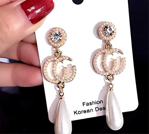 P.Phoebus 18K Yellow Gold Plated Earrings Vintage White Pearl Swarovski Crystal Studs Rhinestones Dangle Charms Hoops for Women Girls (13)]()