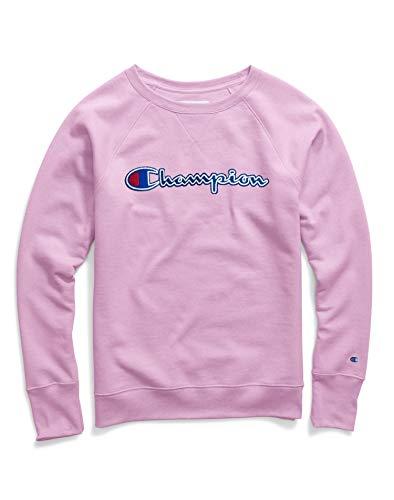 Champion Womens Powerblend Felt Applique Logo Fleece Boyfriend Crew