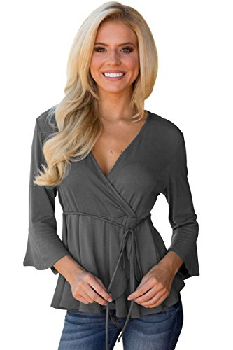 Women's Gray/Black 3/4 Bell Sleeves Wrap Front Tunic Casual Baby Doll Blouses Top Shirts Newest